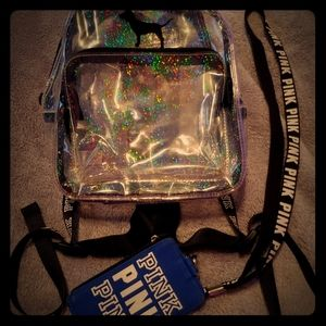 Pink Victoria's Secret backpack and lanyard